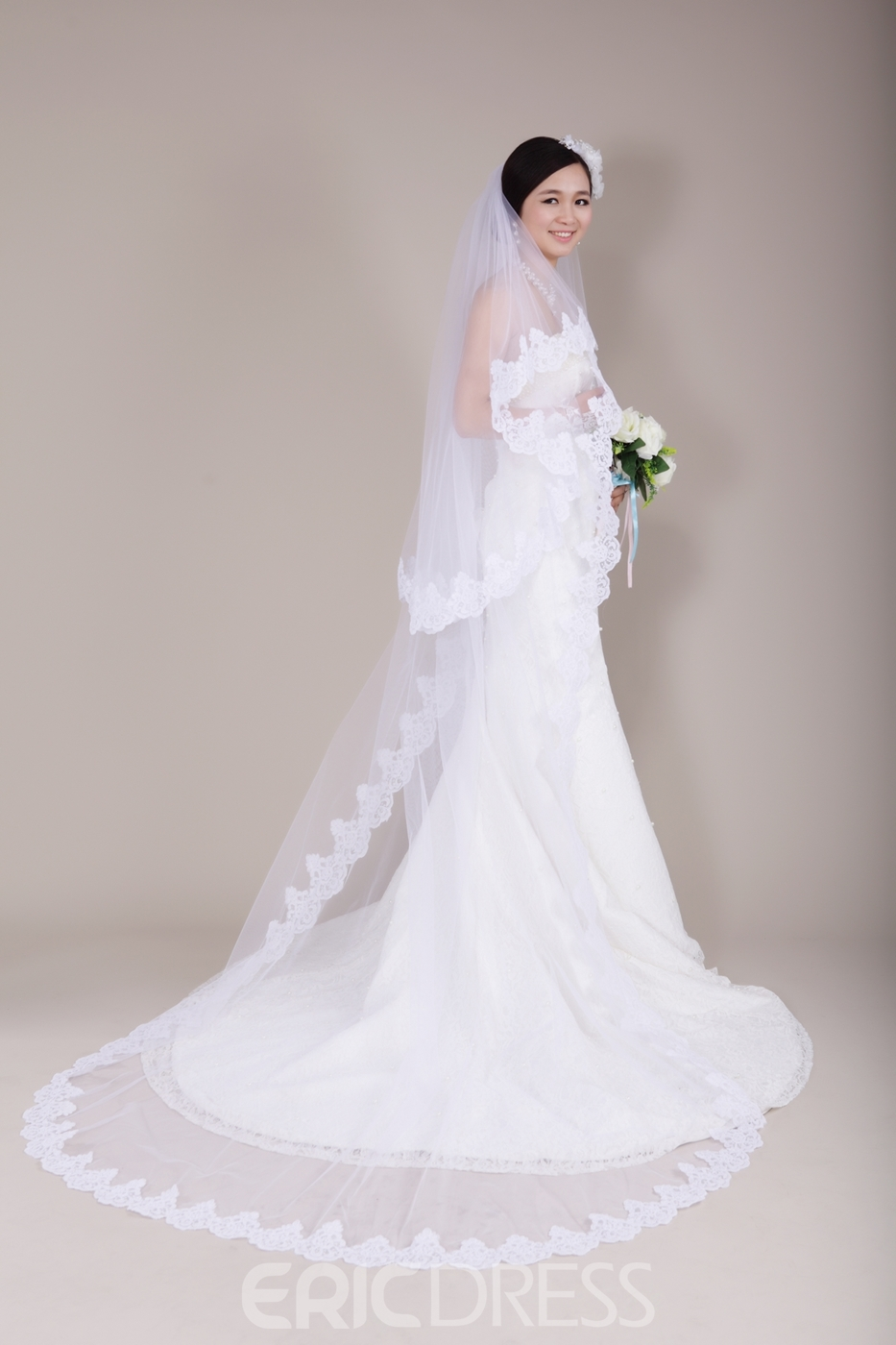 Stunning Cathedral Train Lace Trim Long Wedding Veil
