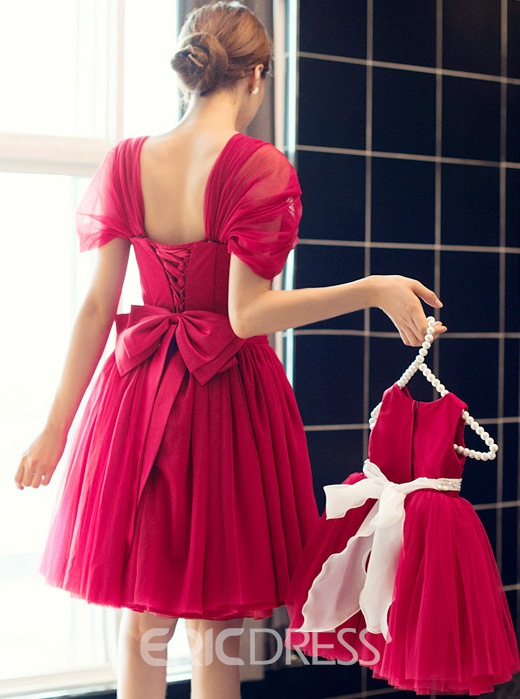 A-Line Square Cap Sleeves Short Charming Bridesmaid Dress