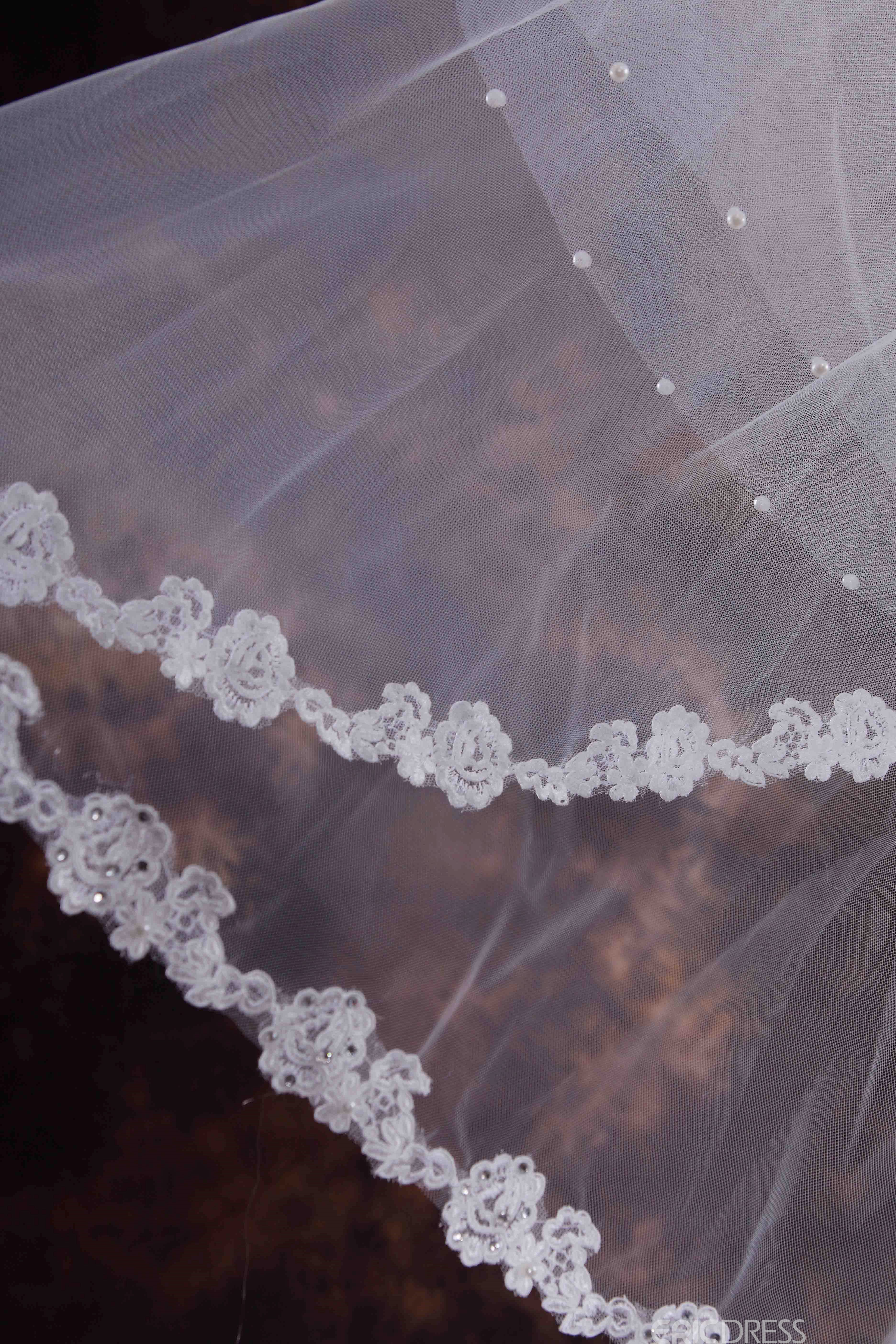 Appliques Two Layer Elbow Wedding Veil