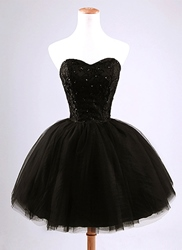 Ericdress Strapless Beading Lace-Up Black Cockatil Dress фото