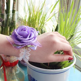 Brilliant Purple Cloth Flowers Wedding/Bridal Wrist Corsage