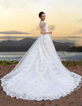 A-Line Jewel Lace Appliques Cathedral Train Charming Wedding Dress