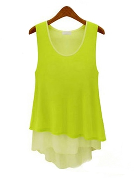Ericdress Candy Color Asymmetric Blouse