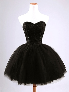 Ericdress Strapless Beading Lace-Up Short Black Homecoming Dress
