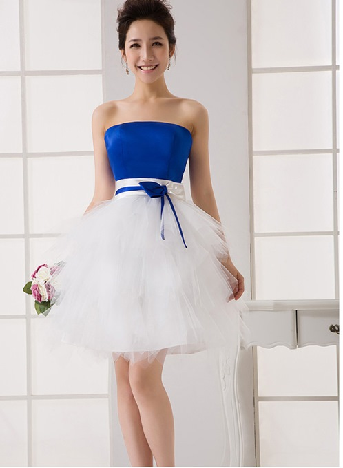 Beautiful A-Line Strapless Short Bridesmaid Dress