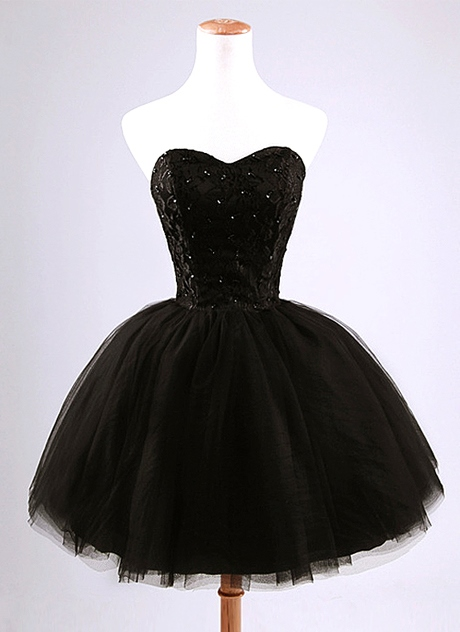 Ericdress Strapless Beading Lace-Up Black Cockatil Dress