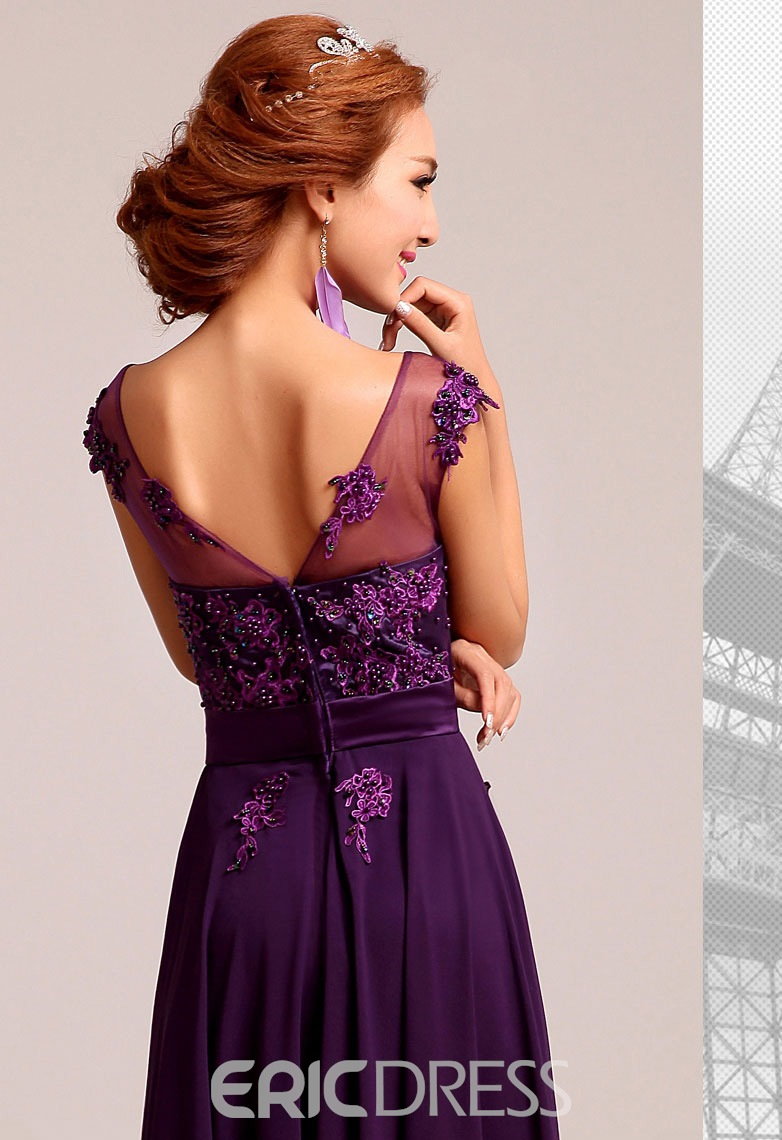 Beautiful A-Line Scoop Appliques Floor Length Bridesmaid Dress