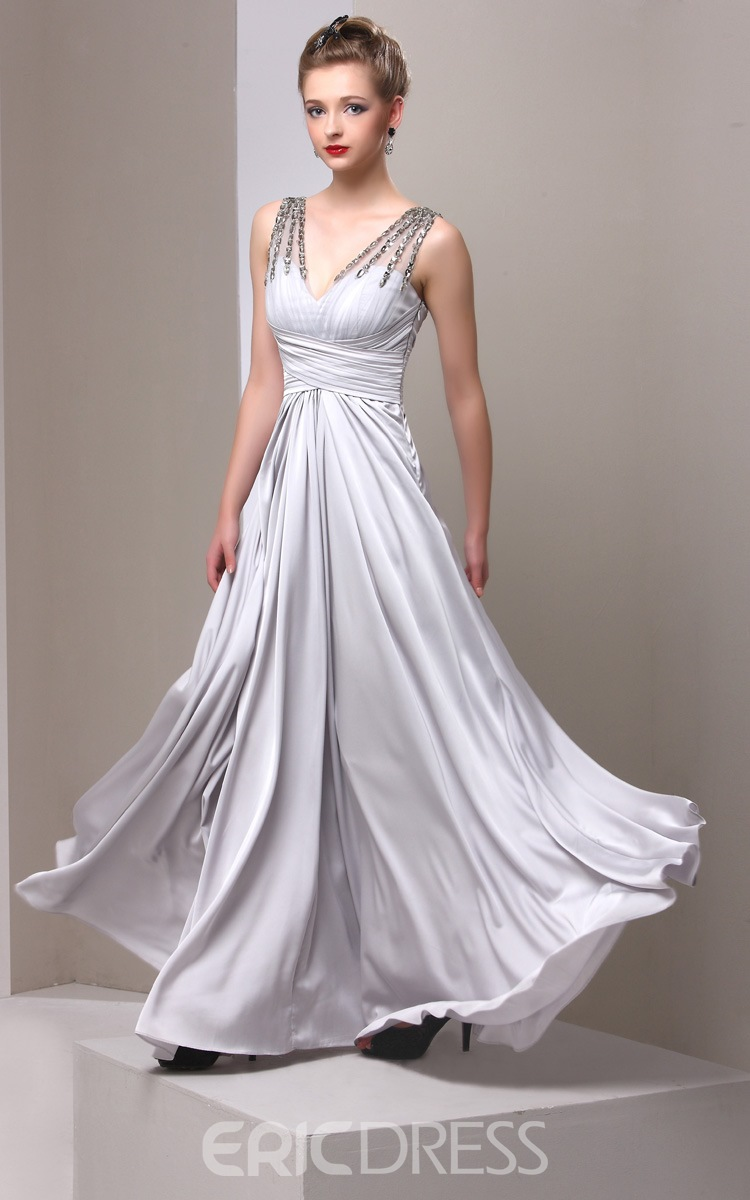Elegant V-Neck A-Line Beading Floor Length Mother Dress