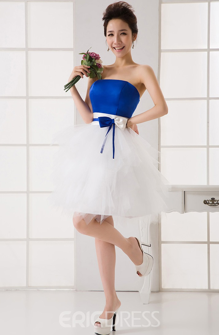 Beautiful A-Line Strapless Bowknot Short Charming Bridesmaid Dress