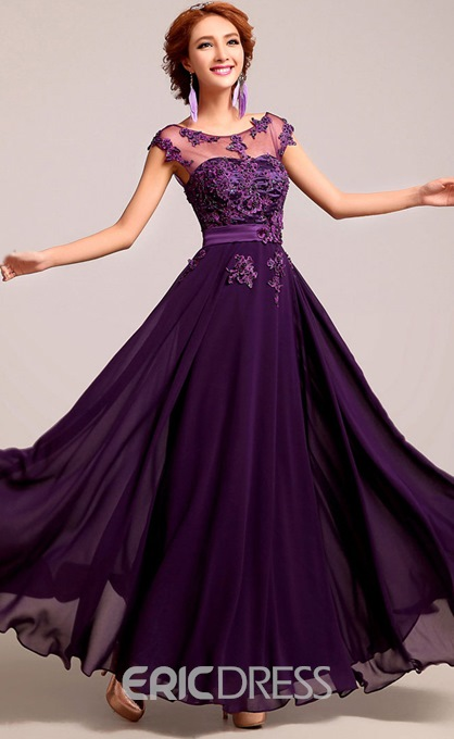 Ericdress Scoop Neck Appliques Long Bridesmaid Dress