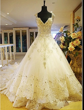 Gorgeous Ball Gown V-Neck Beading Appliques Cathedral Wedding Dress