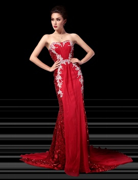 Luxurious&Elegant Sheath Sequins Rhinestone Evening Dress