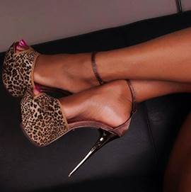 Leopard Grain Suede Ankle Strap Dress Sandals