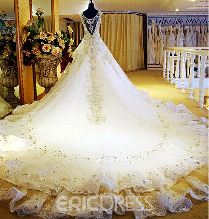 Gorgeous Shiny Beading Diamond Ball Gown Wedding Dress with ...