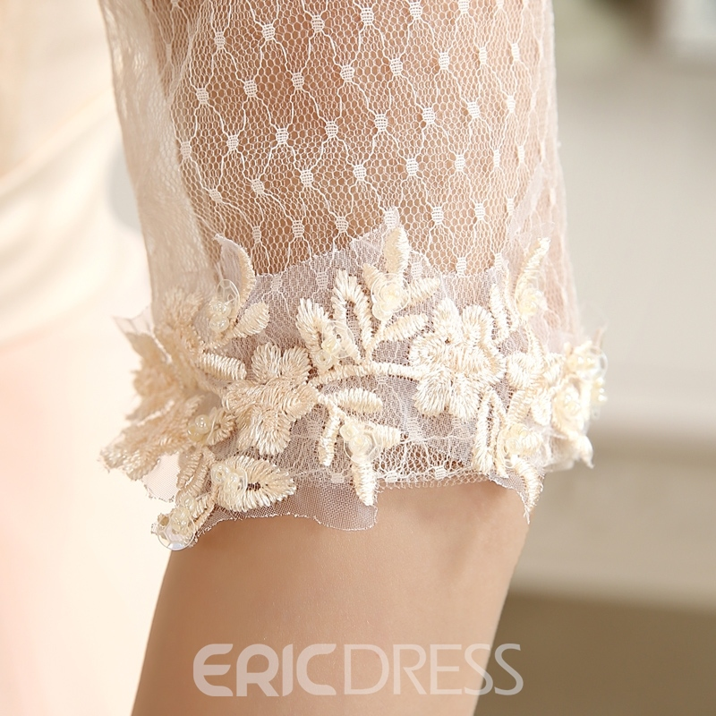 Pretty Lace Appliques Half Sleeves Zipper-up Floor-Length Prom Dress