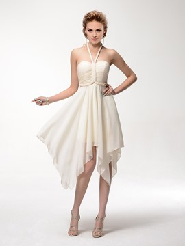 Courtlike A-Line Asymmetric Halter Ruched Zipper-Up Homecoming Dress
