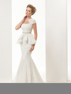 Glamorous Mermaid/Trumpet Short Sleeves Lace-up Sweep/brush Lace Wedding Dress