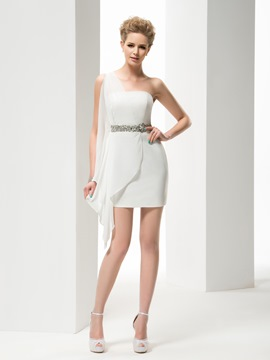 Faddish Tippet One Shoulder Sheath Short/Mini Crystal Wedding Dress