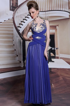 A-Line Jewel Appliques Floor Length Charming Evening Dress