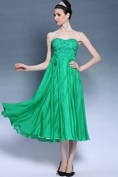 Most Popular Sweetheart Tea Length Sashes Beading Prom Dress
