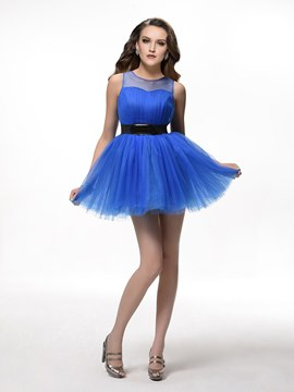 Glamorous A-line Scoop Tulle Belt Mini Homecoming Dress