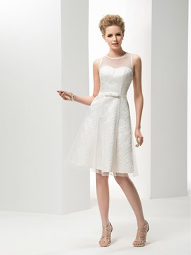 Concise Scoop Neck A-Line Knee-Length Wedding Dress