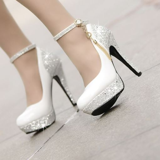 Pretty High Heels Platform Tassel Prom Shoes (Small One Yard)