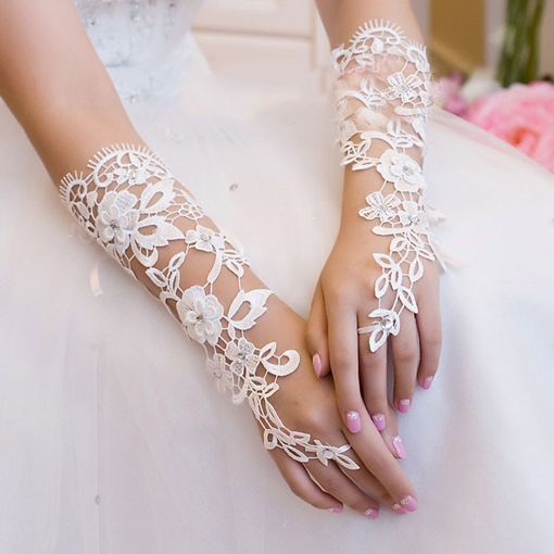 Classical Lace Hollow out Rhinestone Long Wedding Gloves
