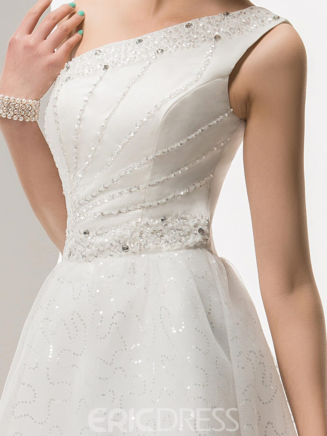 Beading One Shoulder Asymmetry A-Line Wedding Dress