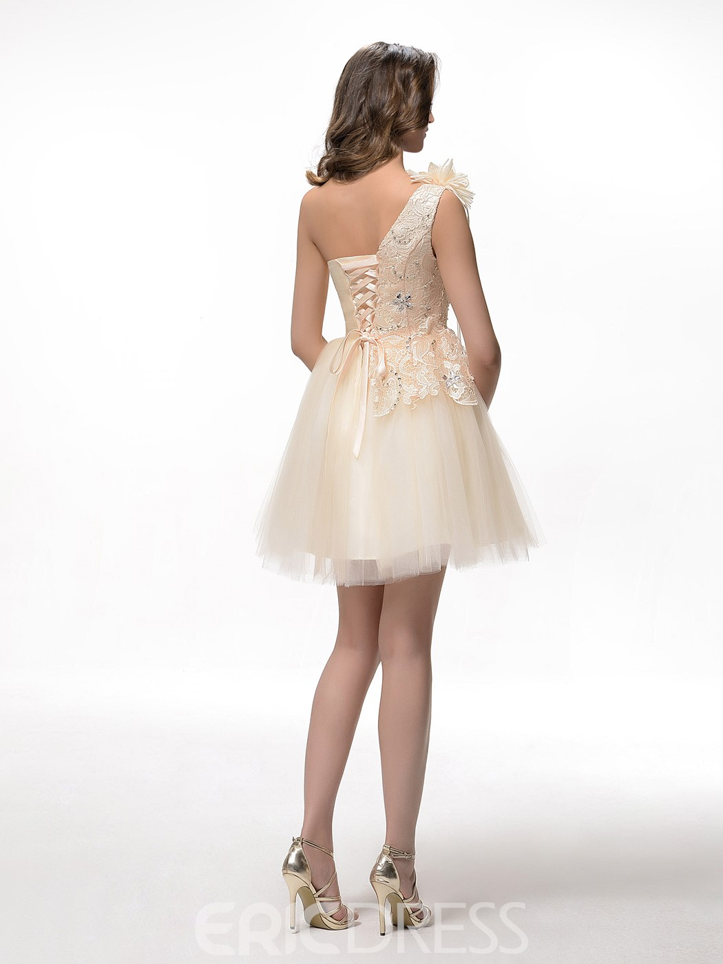 Pretty A-Line One-Shoulder Lace Appliques Flowers Homecoming Dress