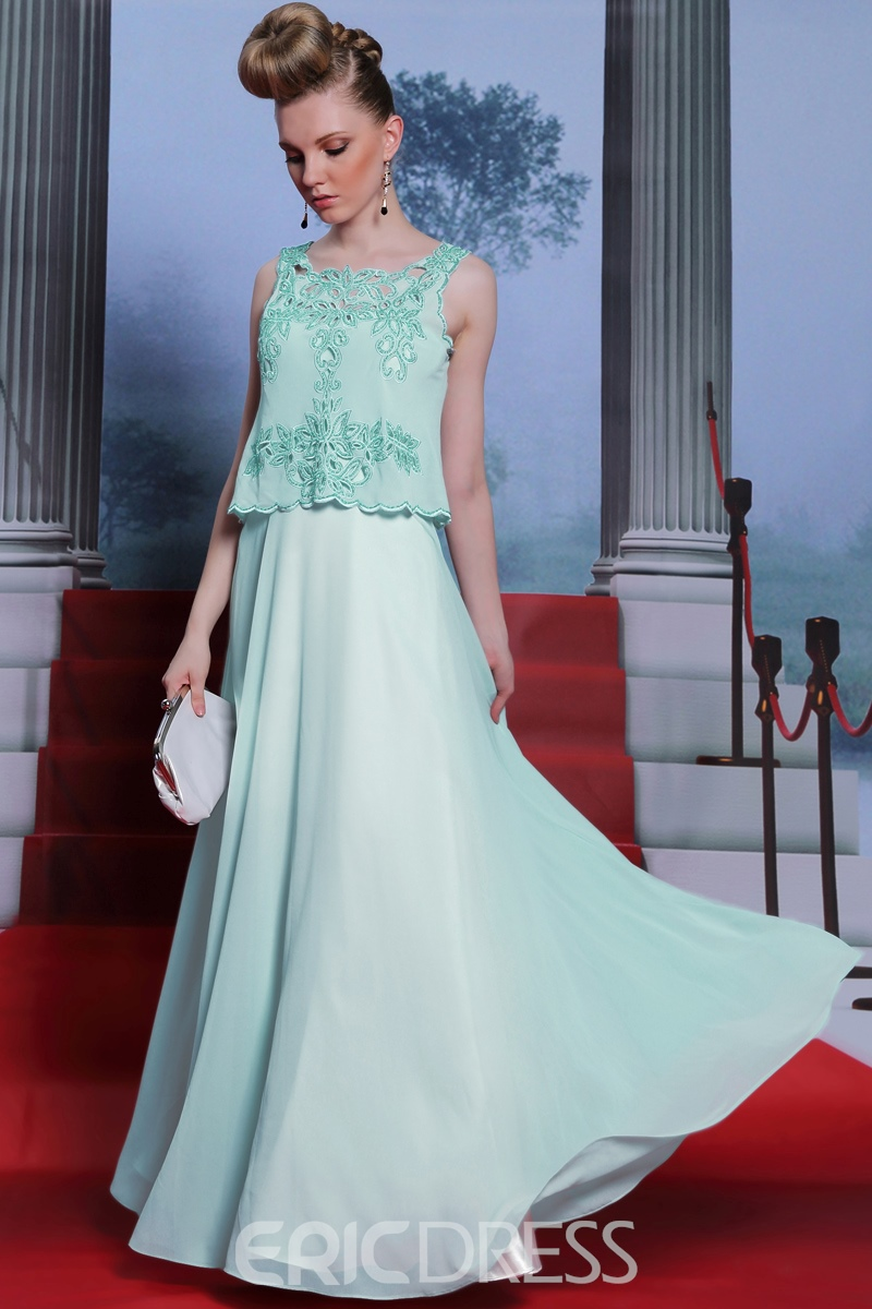 Concise Scoop A-Line Floor Length Prom Dress