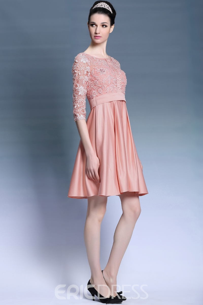 Captivating Scoop Neckline Lace 3/4-Length Sleeves Short-Length A-Line Homecoming/Party Dress