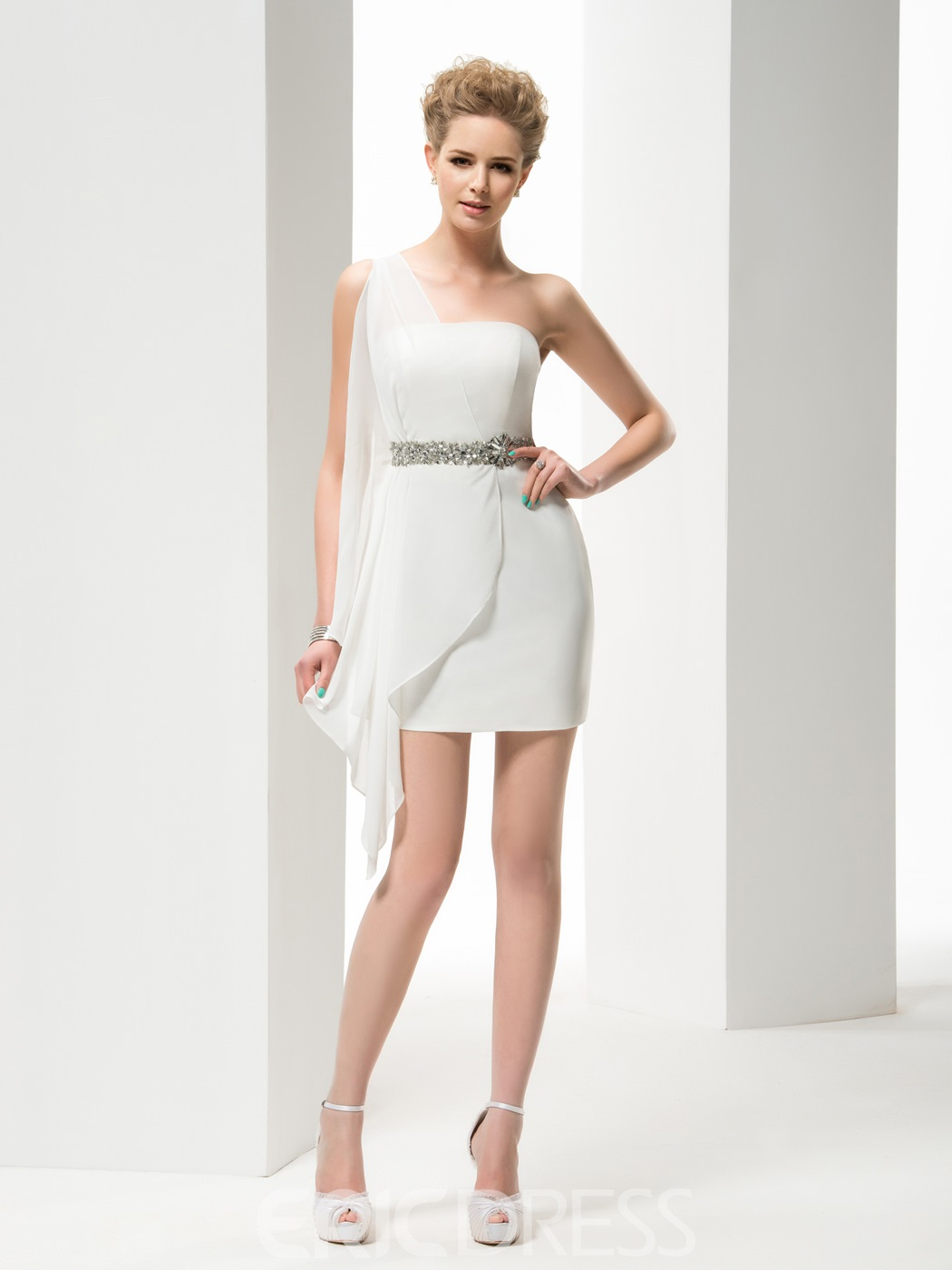 Faddish One Shoulder Sheath Short Wedding Dress