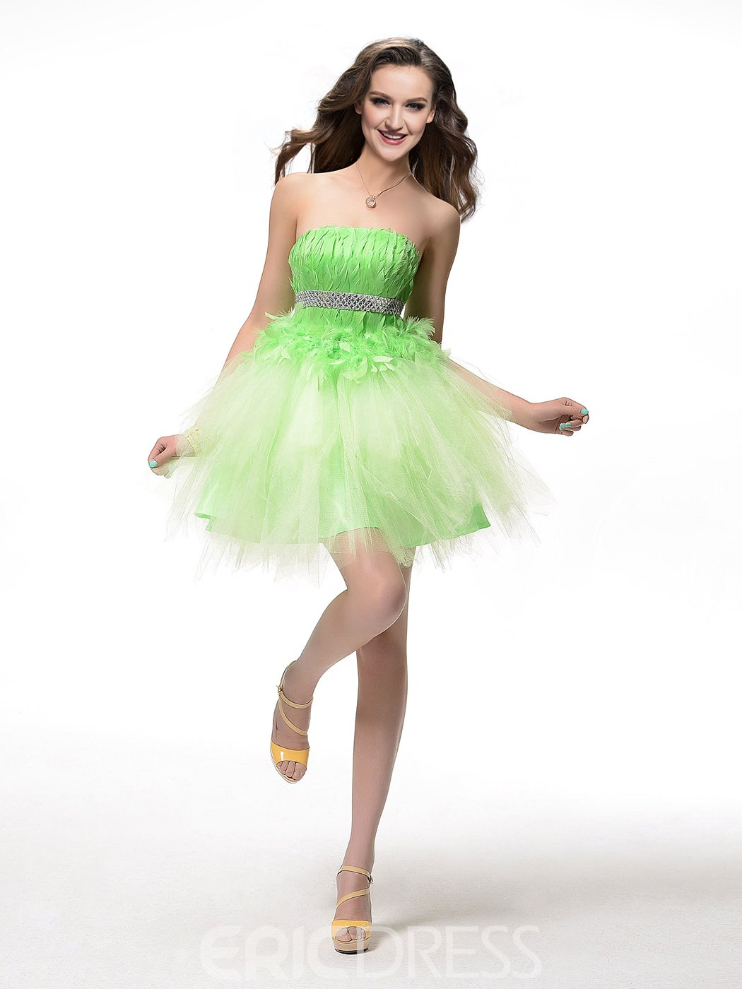 Comely Strapless A-Line Feather Beading Short Homecoming Dress
