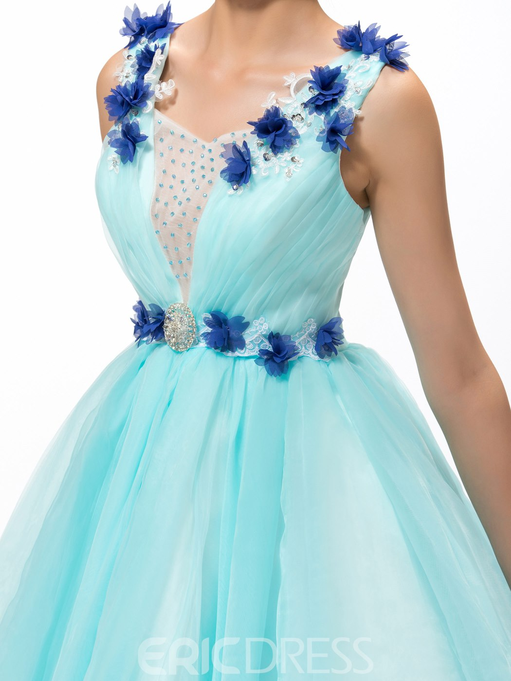 Pretty Ball Gown Flowers Beading Lace-Up Quinceanera Dress