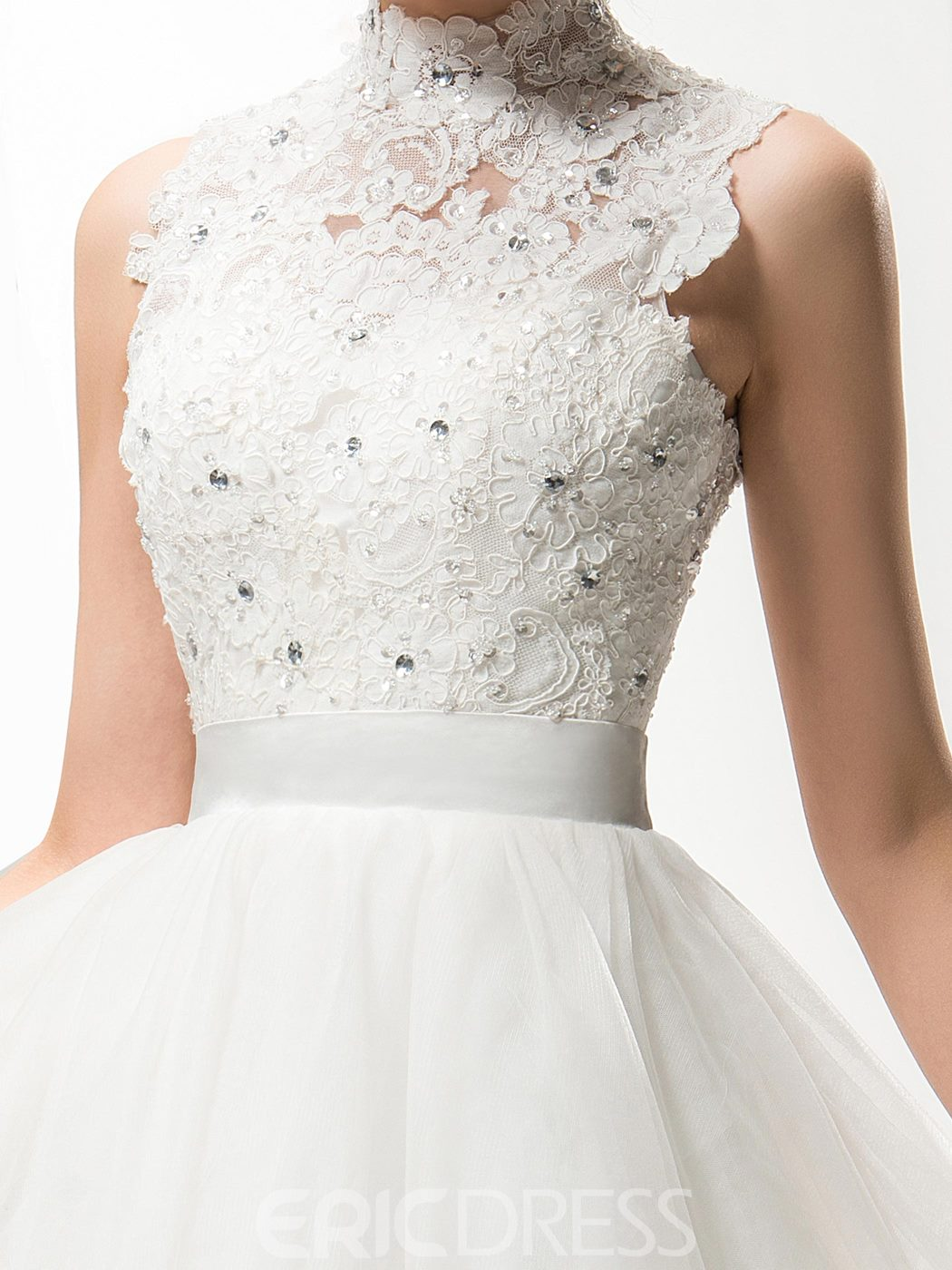 Comely A-Line High Neck Appliques Short Charming Wedding Dress