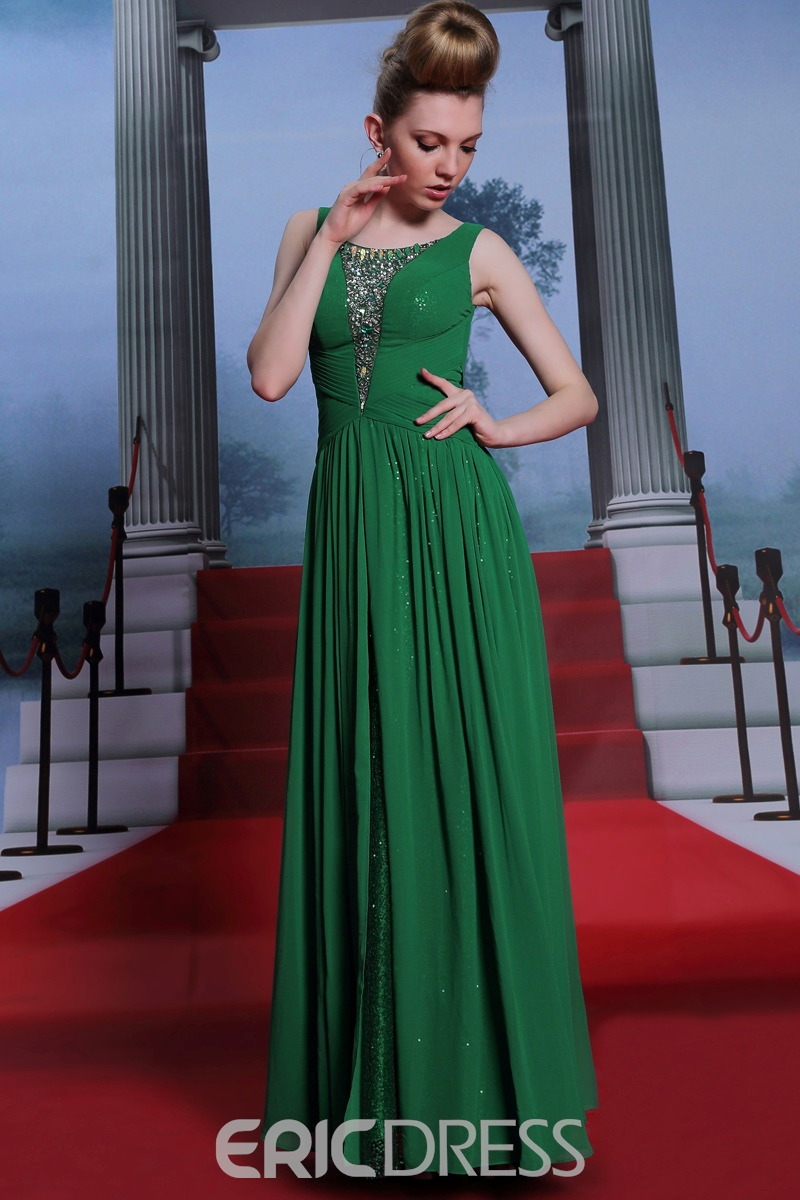 Charming A-Line Straps Sequins Floor-Length Evening Dress