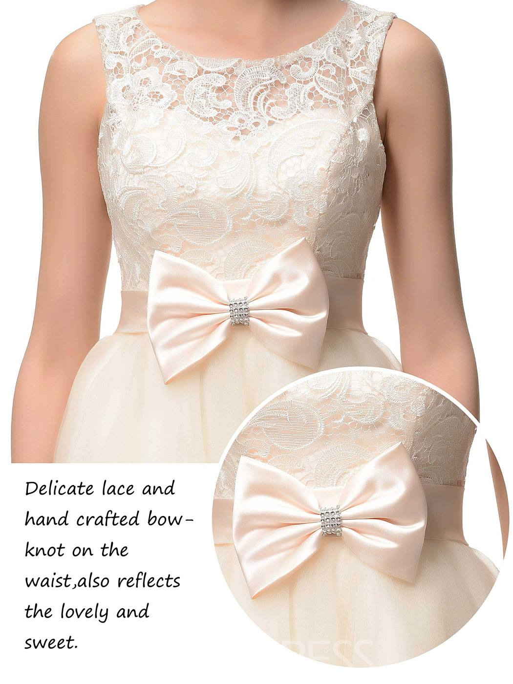Beauteous A-Line Scoop Bowknot Lace Short/Mini Homecoming Dress