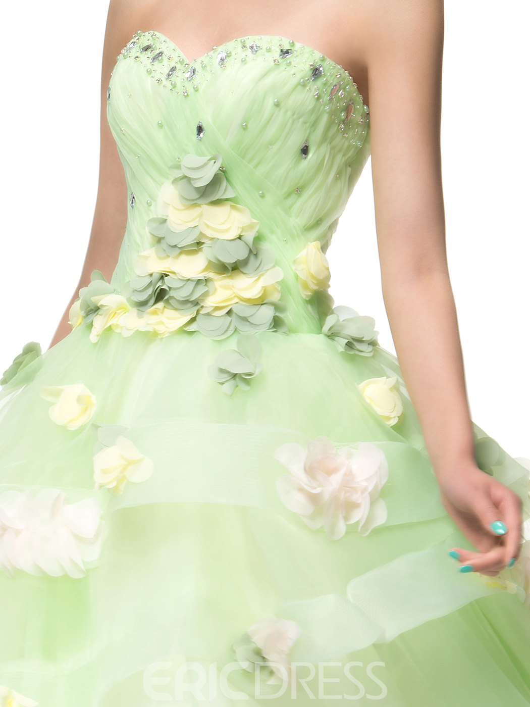 Adorable Sweety Strapless Sweetheart Floor Length Flowers Tiered Tulle Quinceanera Dress