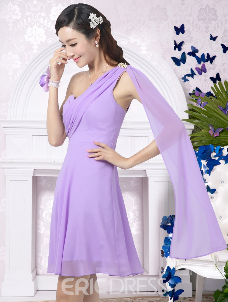 Beautiful A-Line One Shoulder Beading Ribbon Short Bridesmaid Dress