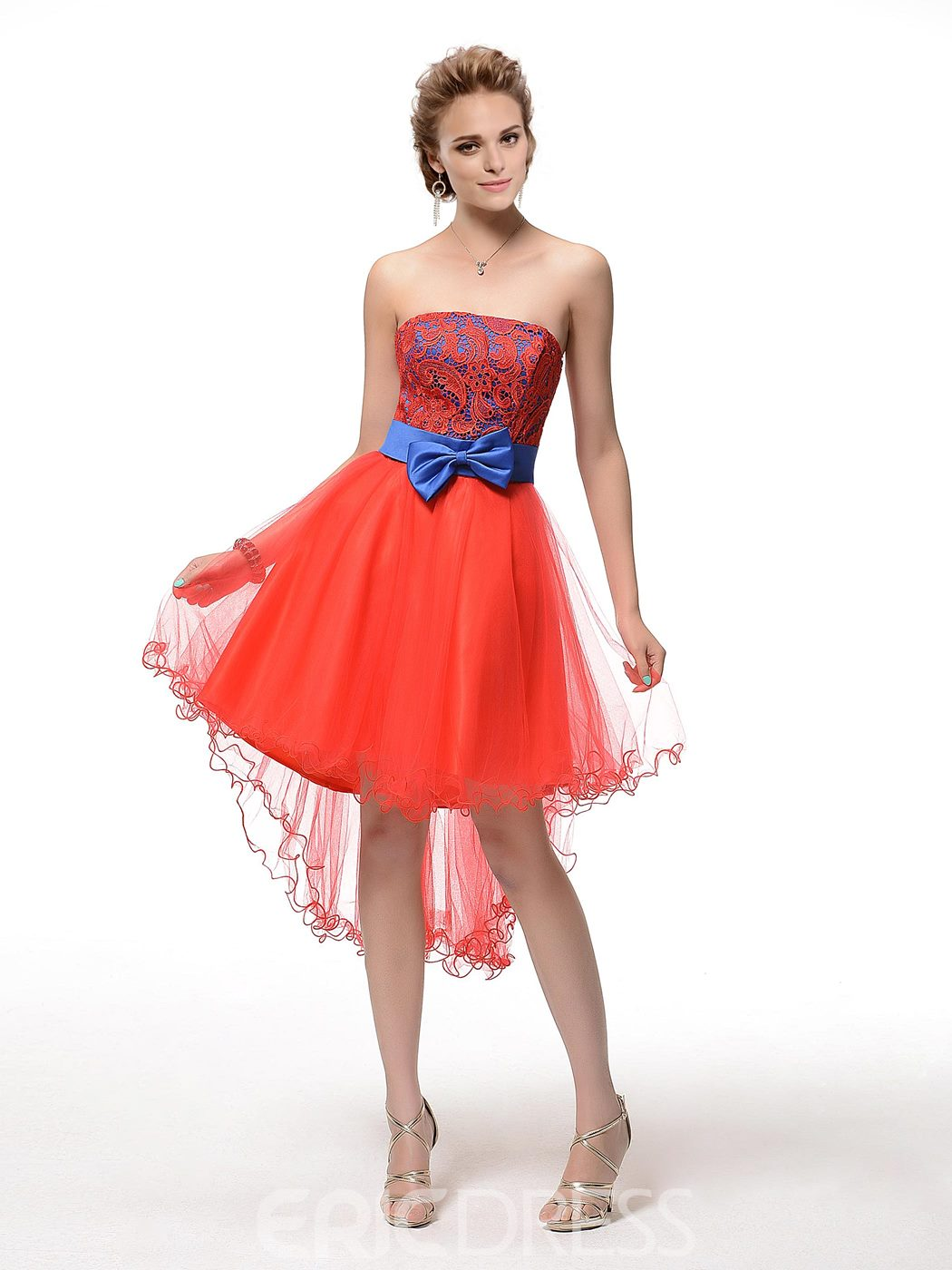 Comely Strapless A-Line Bowknot Lace Short Homecoming Dress