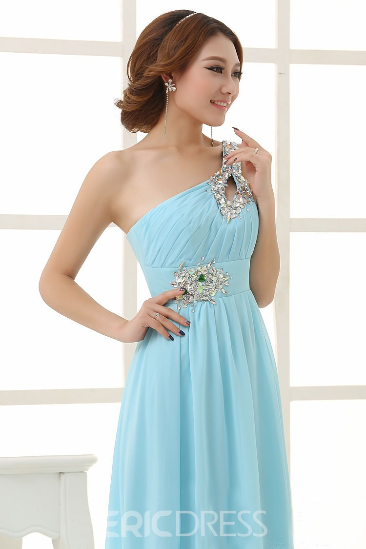 Eleagnt A-Line One Shoulder Beading Floor Length Bridesmaid Dress (4 colors)