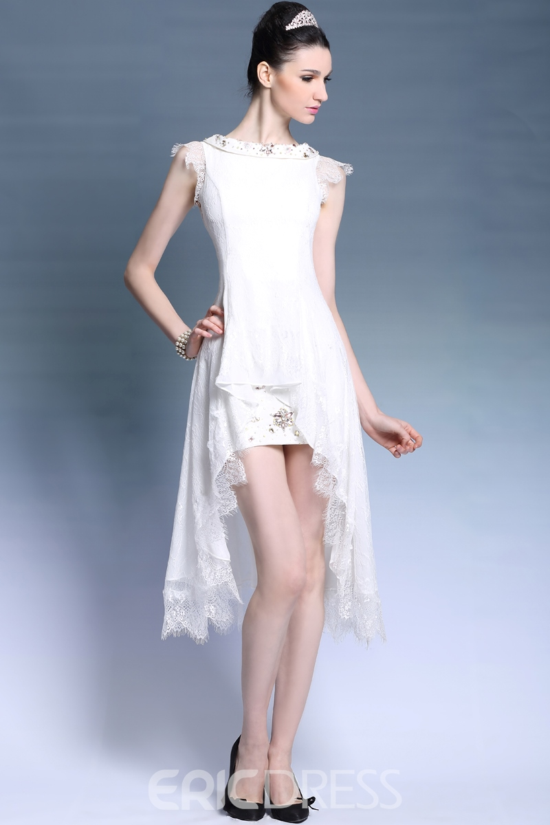 Morden A-Line Lace Beading Bateau Neckline Asymmetric Prom/Homecoming Dress