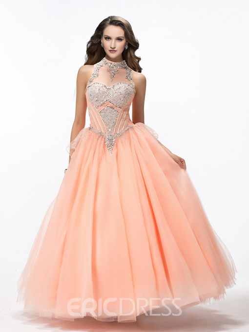 Gorgeous Ball Gown High-Neck Crystal Quinceanera Dress