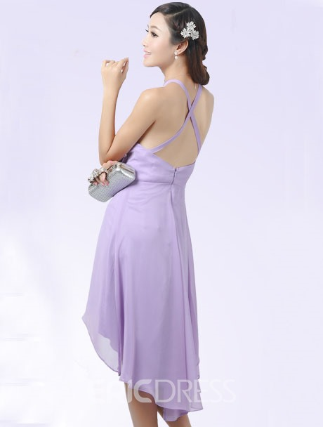 Beautiful A-Line Halter Beading Asymmetry Bridesmaid Dress