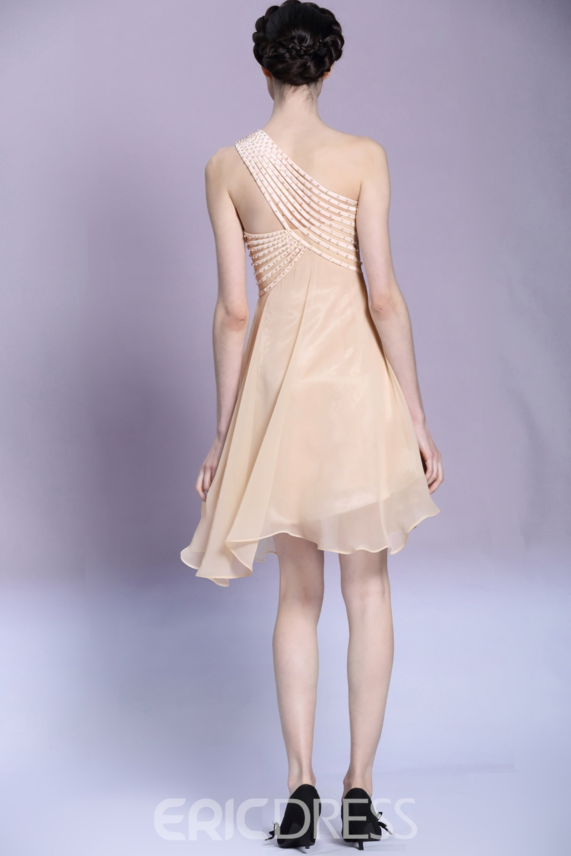Pretty A-Line Beading One Shoulder Short/Mini Prom/Homecoming Dress