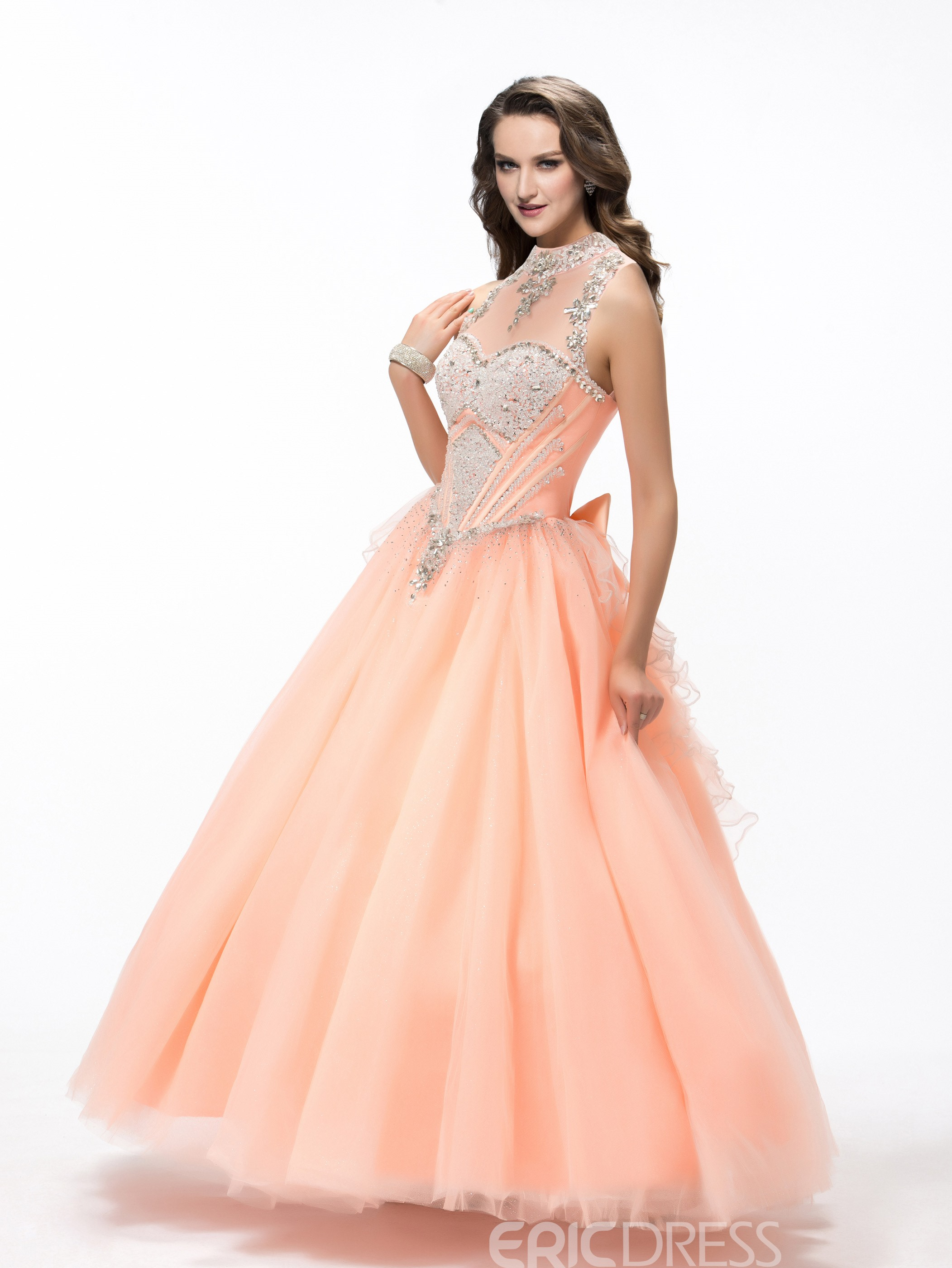 gorgeous ball gown highneck crystal quinceanera dress