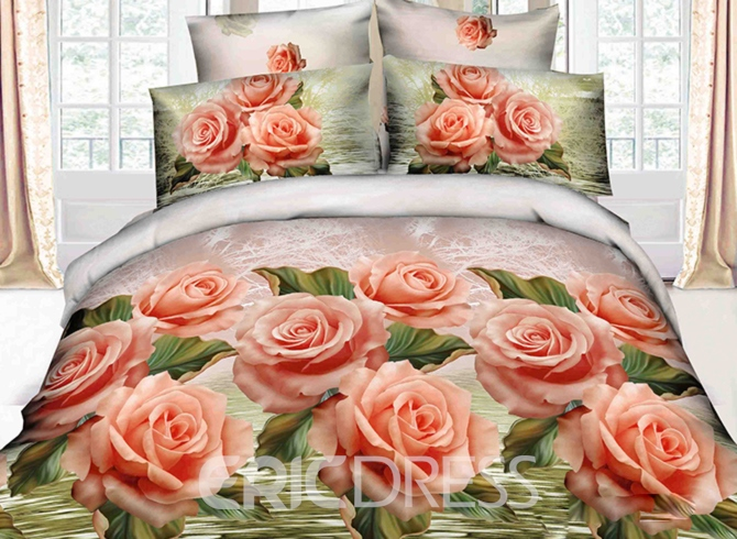 Total Orange Color Rose Print 3D Duvet Cover Sets 10950724