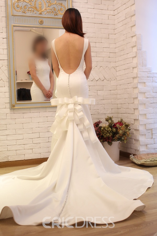 Sexy Mermaid Backless Button Court Train Charming Wedding Dress