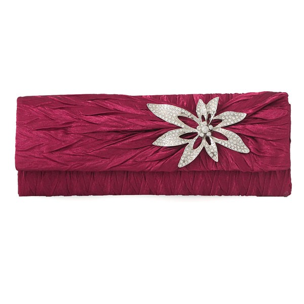 Vintage Rhinestone Flower-Shaped Embellished Pleated Clutches